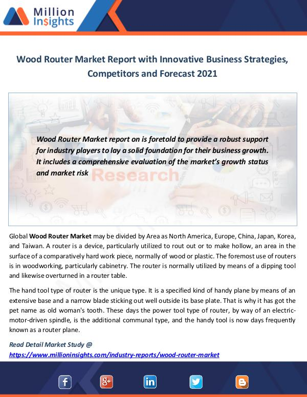 Market News Today Wood Router Market