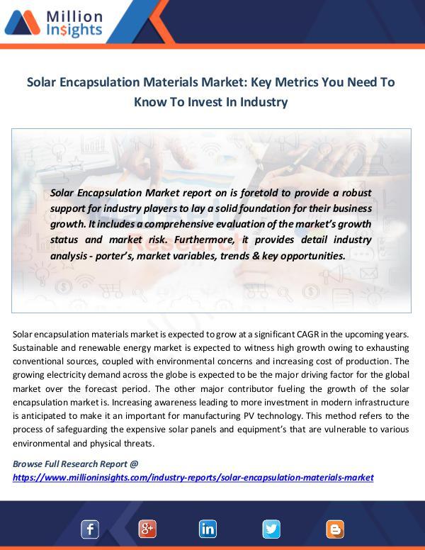 Market News Today Solar Encapsulation Materials Market
