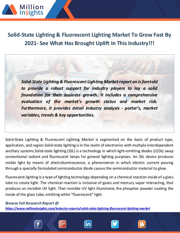 Market News Today Solid-State Lighting & Fluorescent Lighting Market