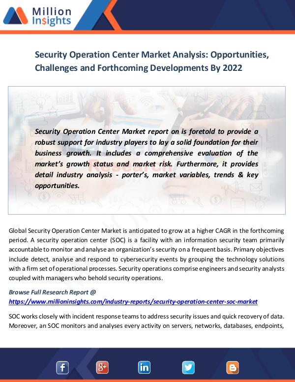 Market News Today Security Operation Center Market