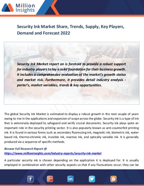 Market News Today Security Ink Market