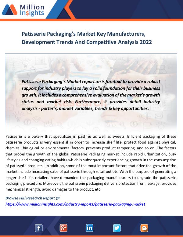 Market News Today Patisserie Packaging's Market