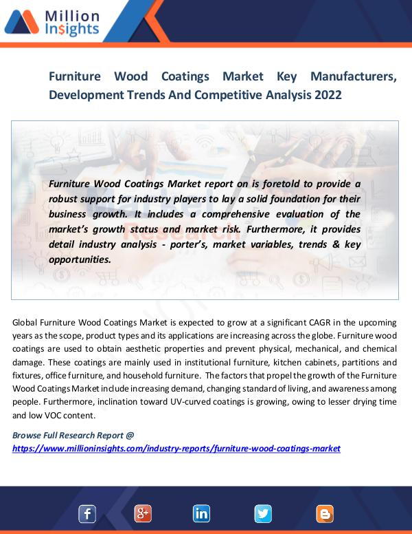 Market News Today Furniture Wood Coatings Market