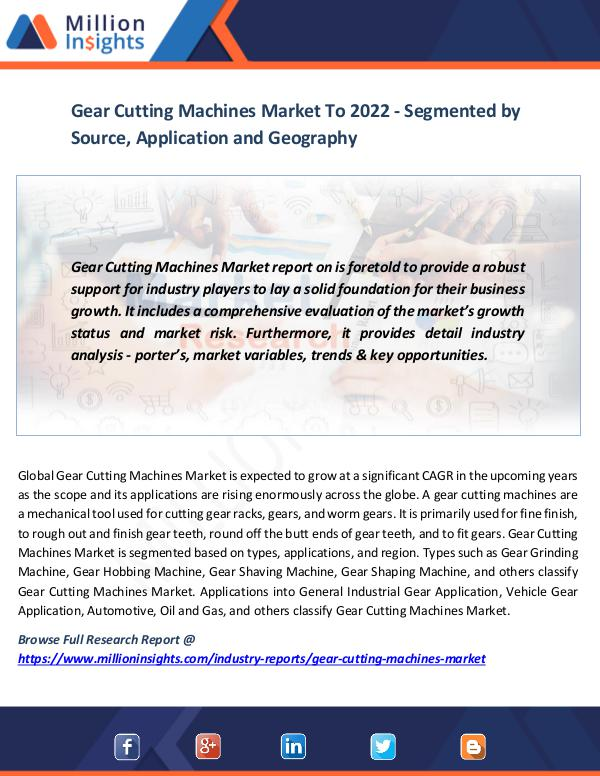 Market News Today Gear Cutting Machines Market