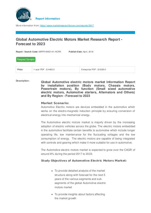 Asia Pacific Blood Glucose Test Strip Packaging Market Research Repor Automotive Electric Motors Market Report – Forecas