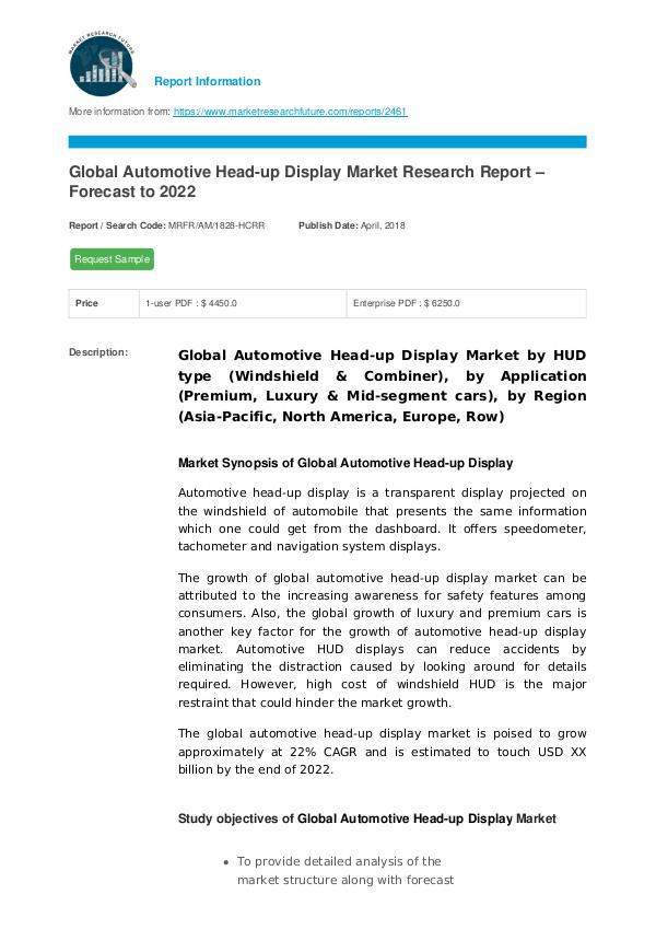 Asia Pacific Blood Glucose Test Strip Packaging Market Research Repor Global Automotive Head-up Display Market