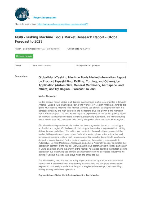 Asia Pacific Blood Glucose Test Strip Packaging Market Research Repor Multi -Tasking Machine Tools Market Report