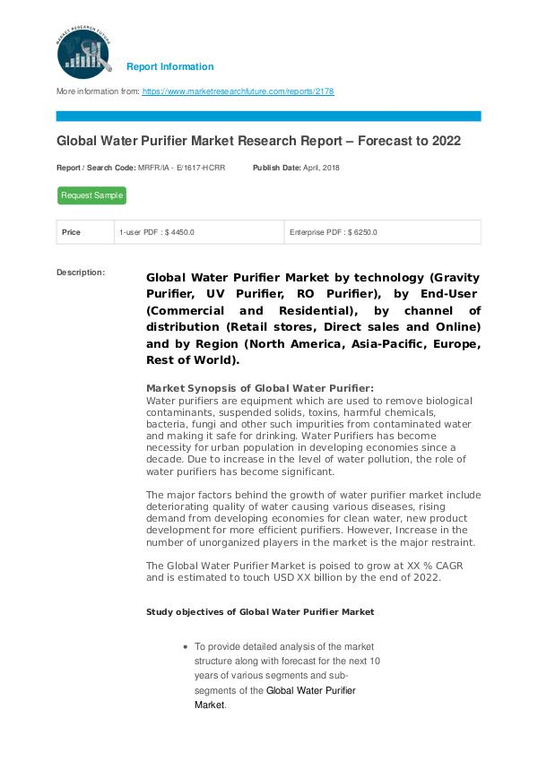 Asia Pacific Blood Glucose Test Strip Packaging Market Research Repor Water Purifier Market Research Report – Forecast t