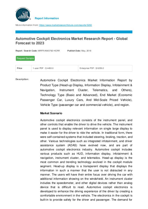 Automotive Cockpit Electronics Market Research Rep