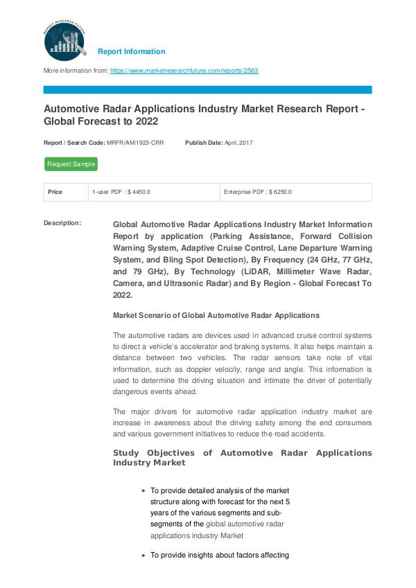 Automotive Radar Applications Industry Market Rese