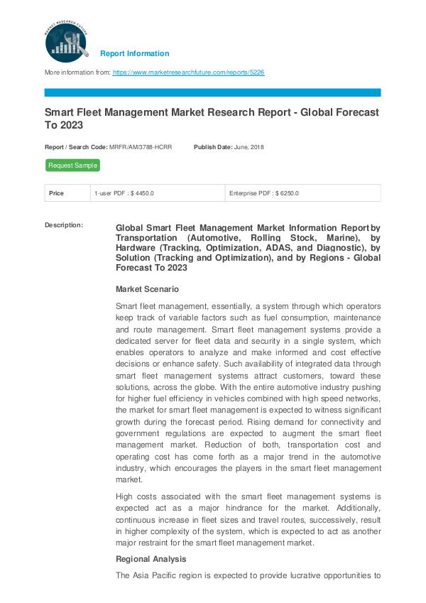 Smart Fleet Management Market Research Report - Gl
