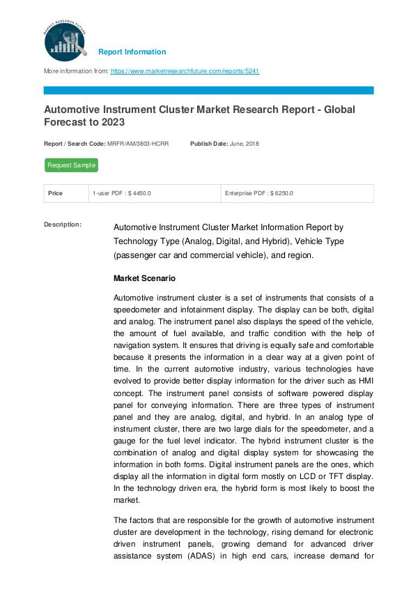 Automotive Instrument Cluster Market Research Repo