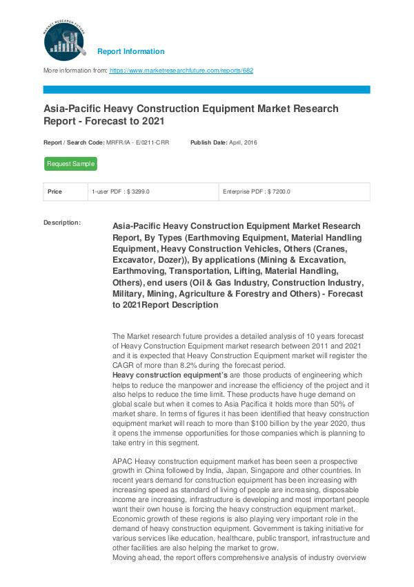 Asia-Pacific Heavy Construction Equipment Market R
