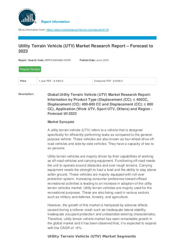 Utility Terrain Vehicle (UTV) Market Research Repo