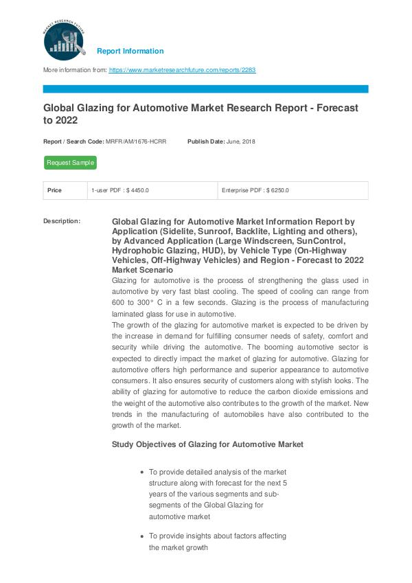 Asia Pacific Blood Glucose Test Strip Packaging Market Research Repor Glazing for Automotive Market Report - Global Fore
