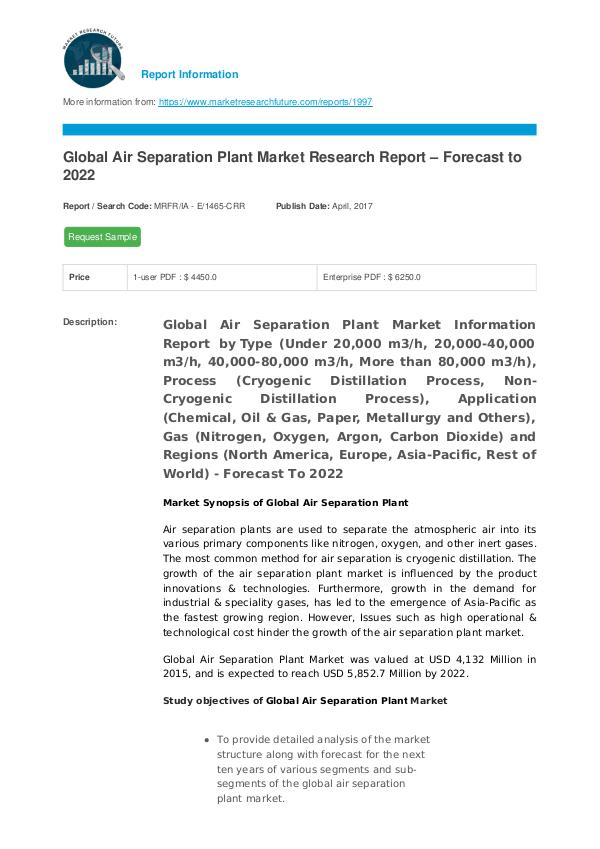 Asia Pacific Blood Glucose Test Strip Packaging Market Research Repor Air Separation Plant Market Research Report - Fore