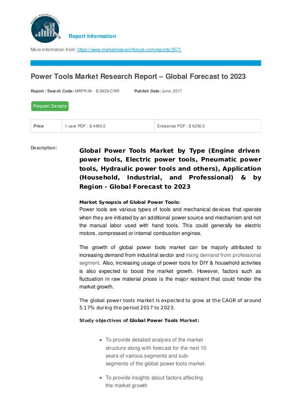 Asia Pacific Blood Glucose Test Strip Packaging Market Research Repor Power Tools Market Research Report – Global Foreca