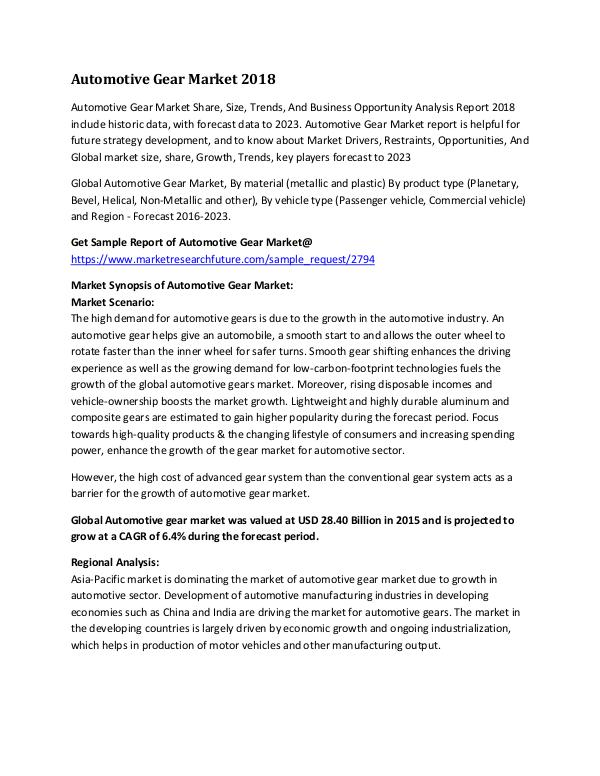 Global Automotive Gear Market Research Report - Fo