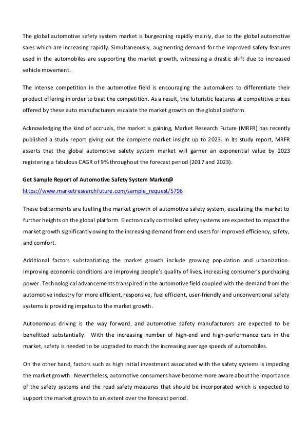 Global Automotive Safety System Market_written by