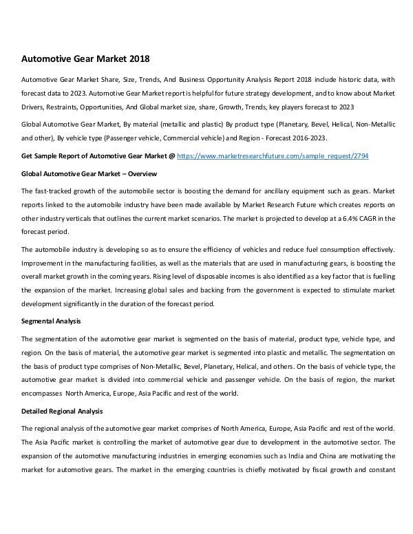 Global Automotive Gear Market