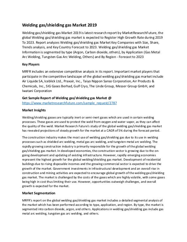 Asia Pacific Blood Glucose Test Strip Packaging Market Research Repor Welding Gas Shielding Gas Market_