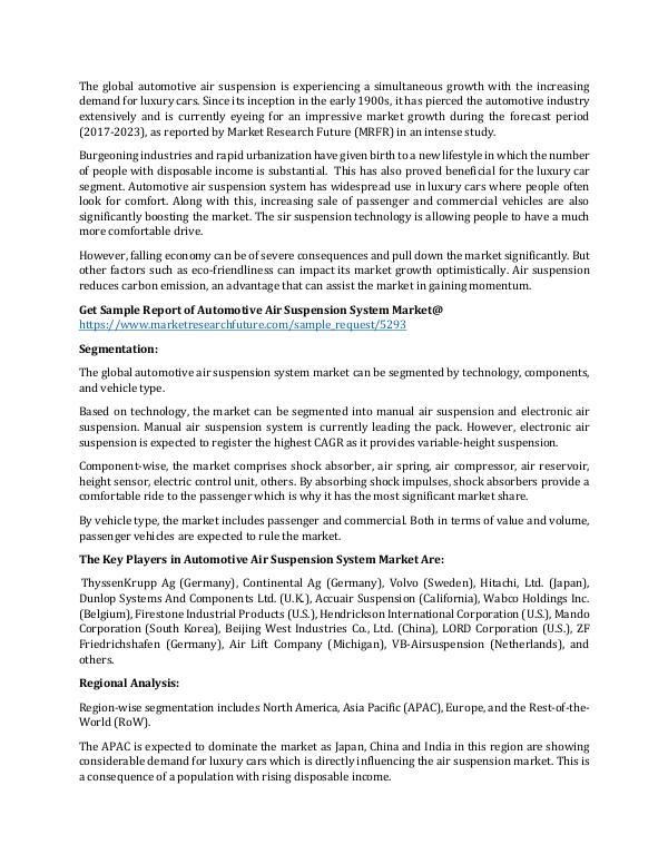 Automotive Air Suspension System Market_Written by