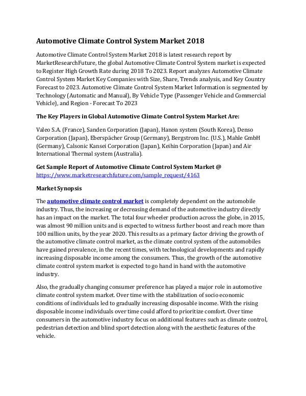 Automotive Climate Control System Market Research