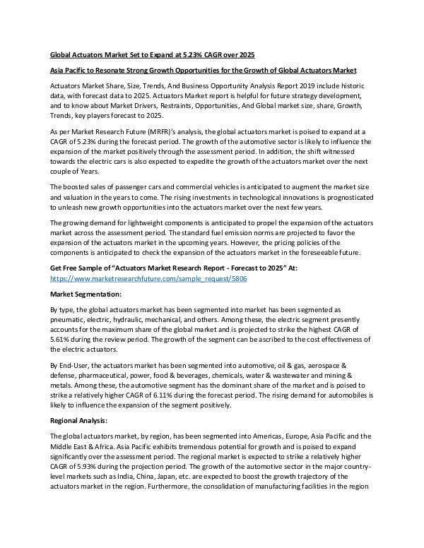 Asia Pacific Blood Glucose Test Strip Packaging Market Research Repor Actuators Market