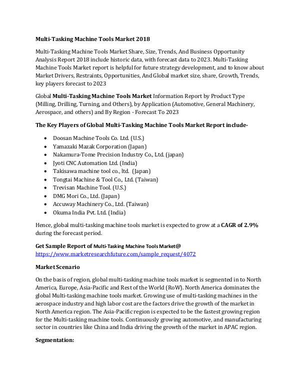 Multi -Tasking Machine Tools Market Research Repor