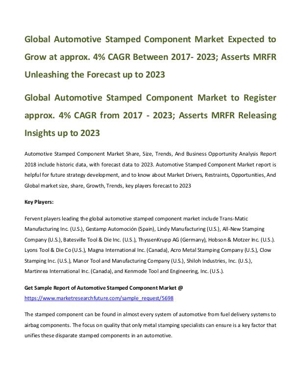 Global Automotive Stamped Component Market_written