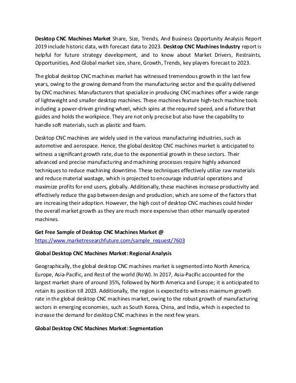 Desktop CNC Machines Market Research Report – Glob