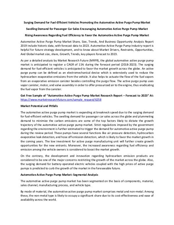 Global Automotive Active Purge Pump Market_Written