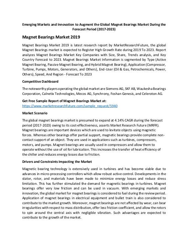 Asia Pacific Blood Glucose Test Strip Packaging Market Research Repor Global Magnet Bearings Market_Written by Trisha