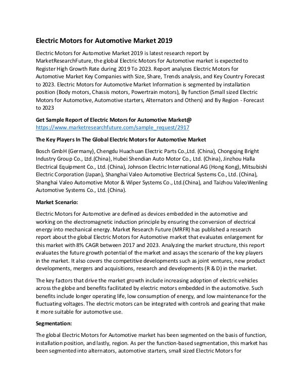Asia Pacific Blood Glucose Test Strip Packaging Market Research Repor Automotive Electric Motors Market PR