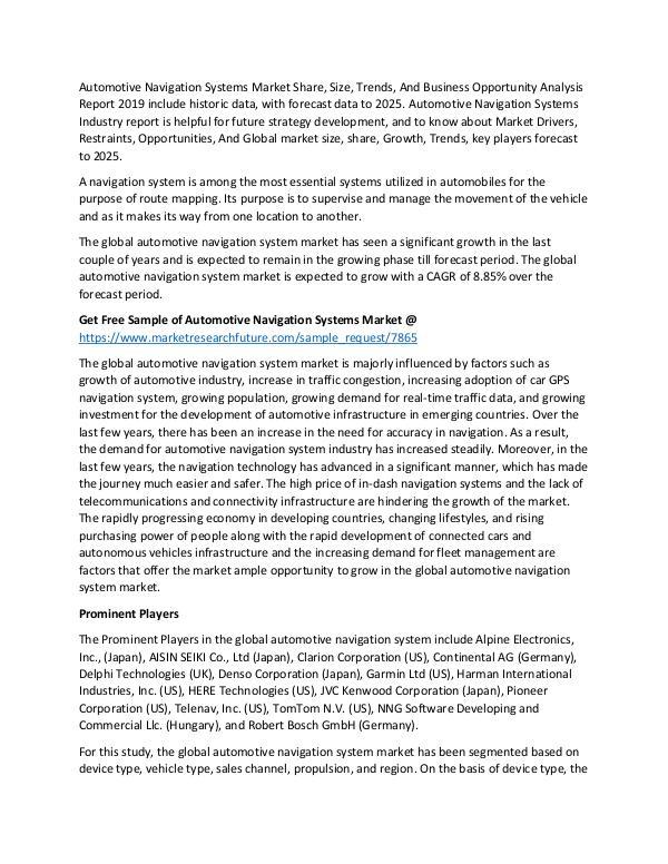 Automotive Navigation Systems Market Research Repo