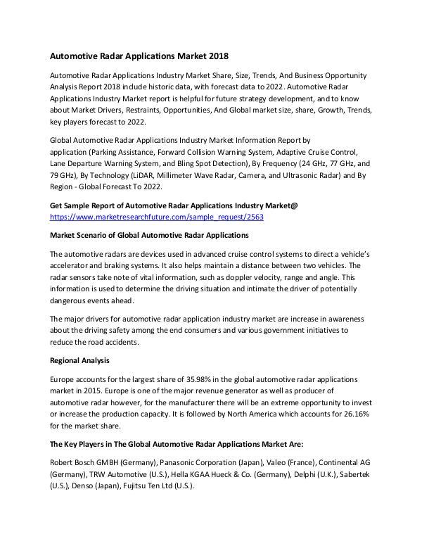 Automotive Radar Applications Industry Market Rese