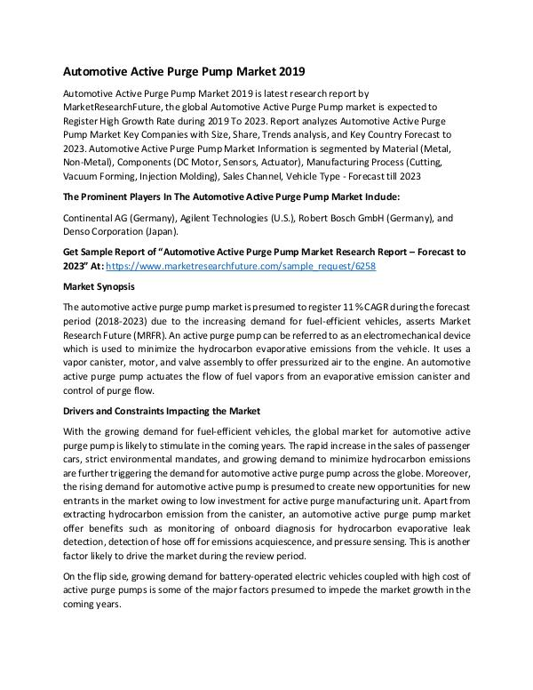 Asia Pacific Blood Glucose Test Strip Packaging Market Research Repor Global Automotive Active Purge Pump Market_Written