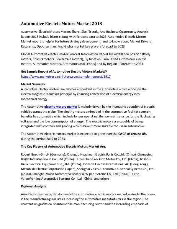 Global Automotive Electric Motors Market Research