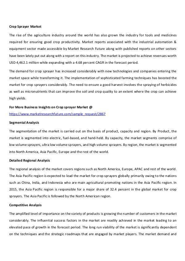 Asia Pacific Blood Glucose Test Strip Packaging Market Research Repor Crop Sprayer Market