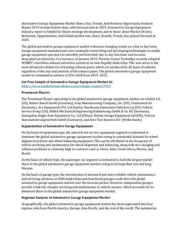 Automotive Garage Equipment Market Research Report