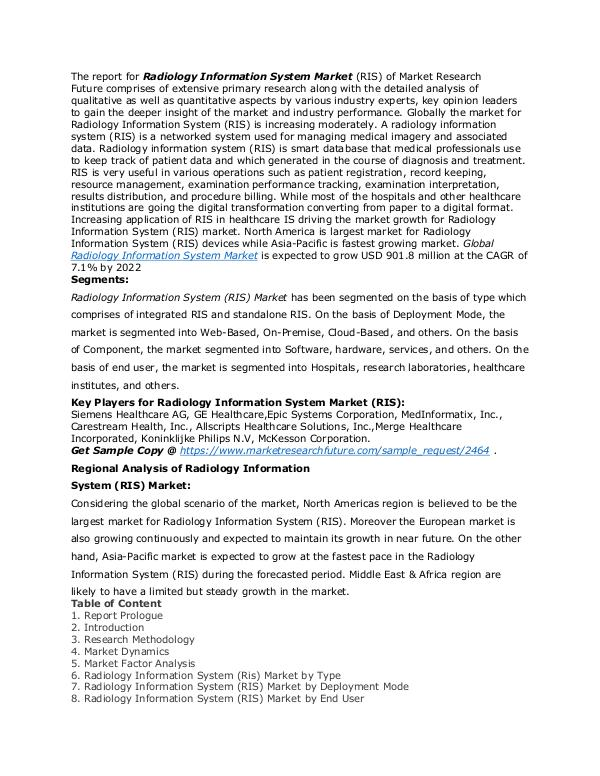 Healthcare Publications Radiology Information System (RIS) Market