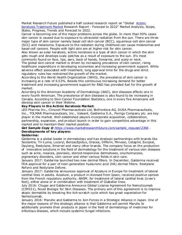 Healthcare Publications Actinic Keratosis Treatment Market