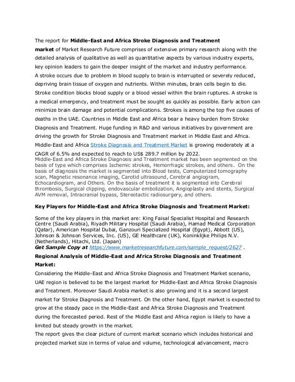 Healthcare Publications Stroke Diagnosis and Treatment Market