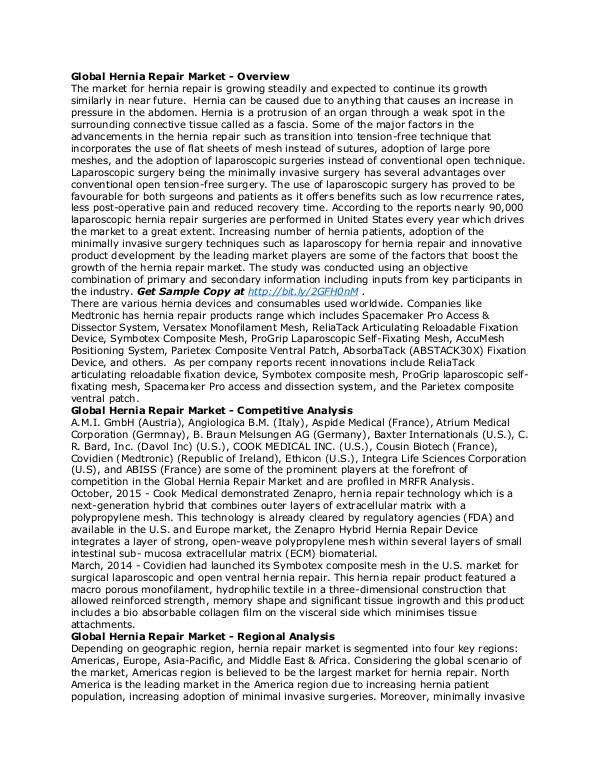 Healthcare Publications Hernia Repair Market