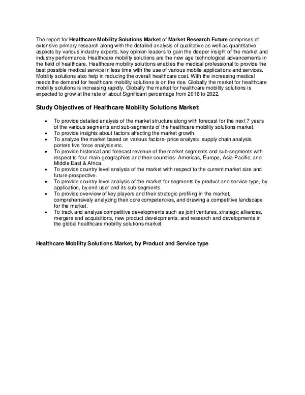 Healthcare Publications Healthcare Mobility Solutions Market