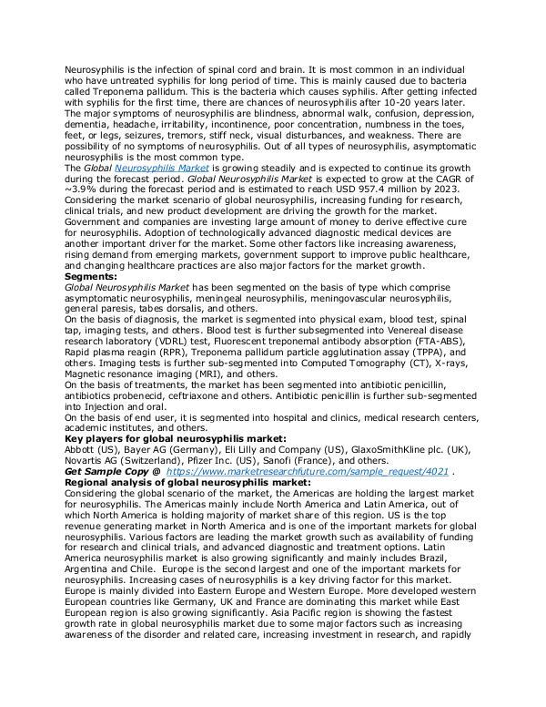 Healthcare Publications Neurosyphilis Market