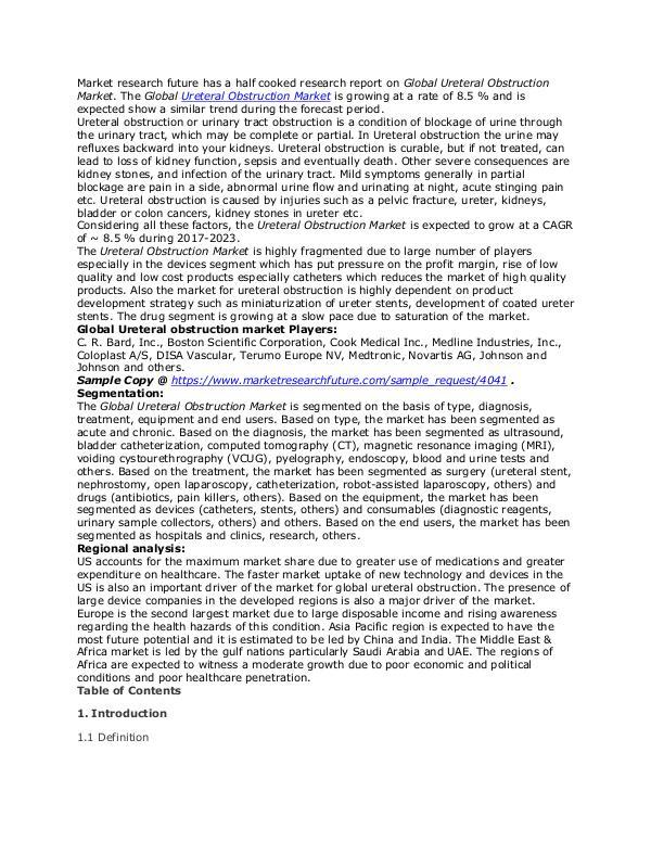 Healthcare Publications Ureteral Obstruction Market