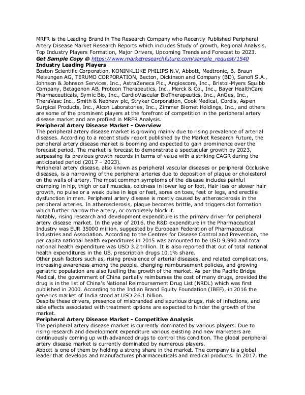 Healthcare Publications Peripheral Artery Disease Market