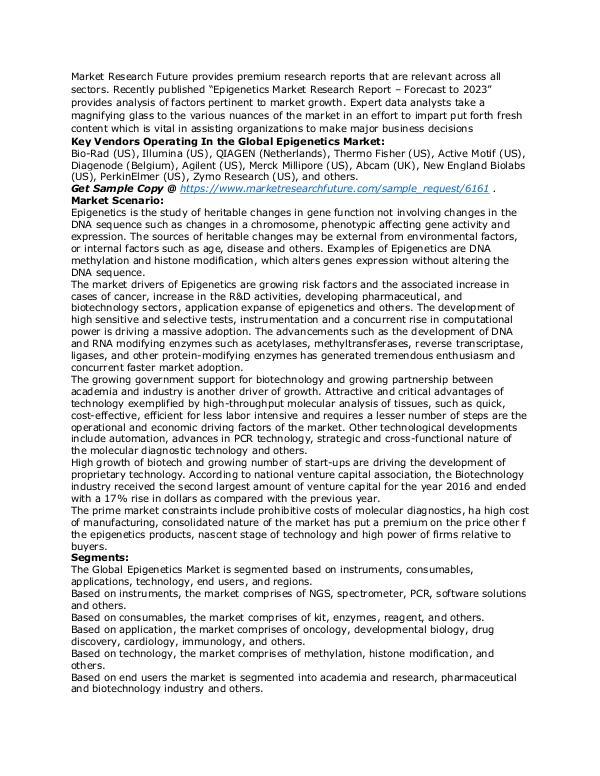 Healthcare Publications Epigenetics Market