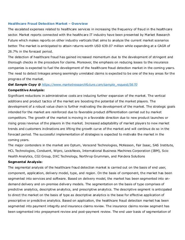 Healthcare Publications Healthcare Fraud Detection Market